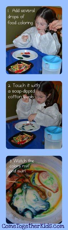 Come Together Kids: Swirling Colors Milk (science experiment) @Jamie Wise Wise Wise Carroll