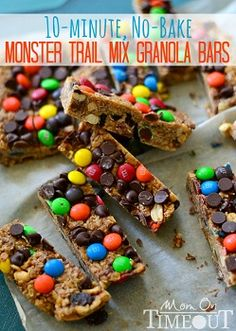 Monster Trail Mix Granola Bars (No-Bake)