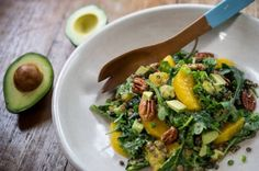 A mid-winter's salad dream. Lentil salad with avocado and pecans.