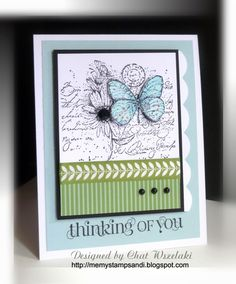 Butterfly Card. Love the black and white stamp with one element cut out and coloured.
