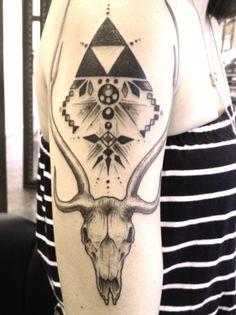 deer skull & geometry #arm #tattoos