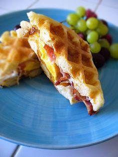 breakfast sandwiches in the waffle maker