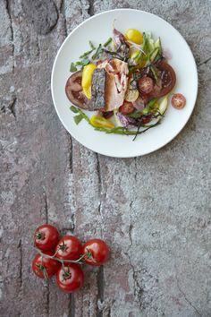 Heirloom Tomato Salad with Crispy Salmon Skin  Seaweed Dressing Recipe - JoyOfKosher.com