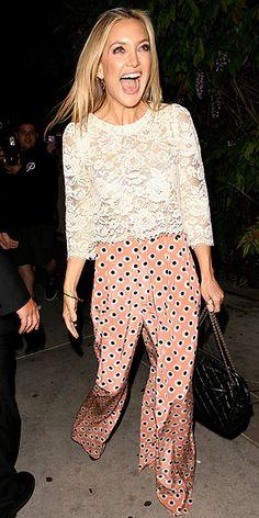polka dots, lace tops, printed pants, mixing patterns, kate hudson style