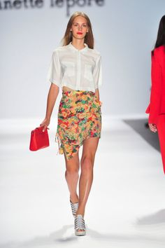 A new way to wear a floral skirt: Nanette Lepore Spring 2014