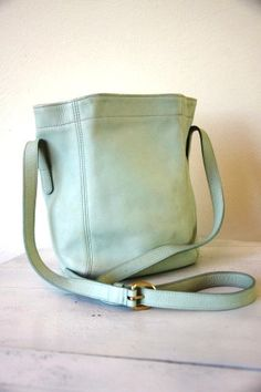 Vintage 1980s Minty Green Authentic Buttery Leather Coach Bag by RetroKittenVintage, $45.00