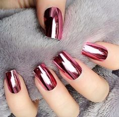 Pink metallic nails