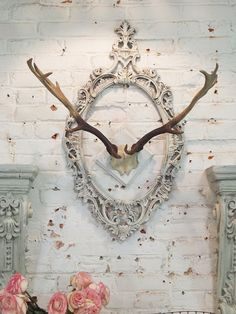 Painted Cottage Chic Shabby Farmhouse Deer Antlers HD31 on Etsy, $129.00