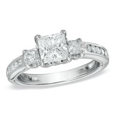 1-1/2 CT. T.W. Princess Cut Diamond Three Stone Past Present Future Ring in 14K White Gold   http://zales.imageg.net/graphics/product_images/pZALE1-3313001t400.jpg