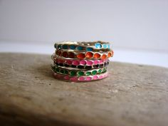 Sport a stack of colorful rings.
