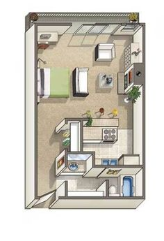 Carmel Westwood - 525 Square Feet. Very similar to my apt's layout.