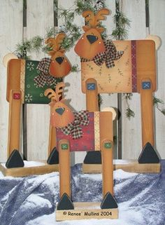 Cute Christmas wood craft Reindeers