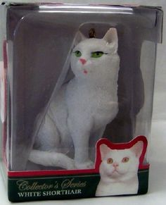 White Shorthair Cat LE Christmas Ornament New $9.99
