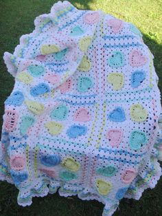Pastel Hearts and Granny Square Afghan