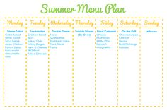 Easy Summer Meal Plan...add new recipes as needed