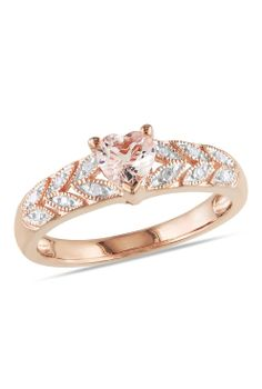 Morganite + diamond heart ring