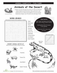 Worksheets: Animal Habitats: Deserts