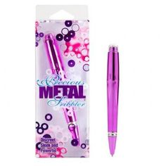 Precious Metal Scribbler Pen Vibrator is available in three colors: Pink, Purple and Silver. Discreet vibrating sex toy has a dual purpose. It writes and vibrates. Sleek and incredibly powerful vibrating pen with jewel cap.