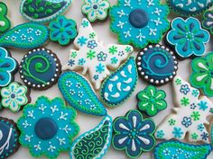 cake, color schemes, cooki decor, blue green, iced biscuits