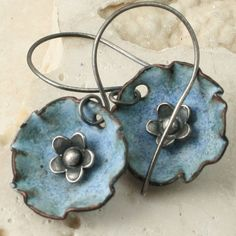 cup, denim style, fade denim, metal flowers, denim flower, metal jewelry, polymer clay, antiqu, enamel earring