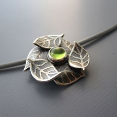 Peridot and Sterling Silver Necklace  Etched Leaves by lisahopkins