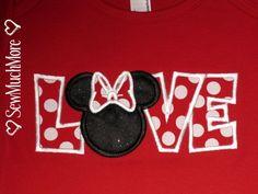 Custom Boutique Disney Vacation Personalized Minnie Mickey Love Valentine Applique boys girls Ariel Princess Donald Daisy tee t-shirt. $22.00, via Etsy.