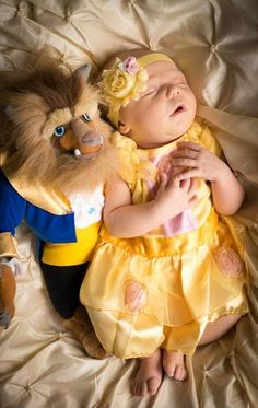 Beauty and the beast... I get it.. but I think it is creepy. disney movies, little girls, little princess, disney princesses, newborn photos, disney babies, baby pictures, baby girls, the beast