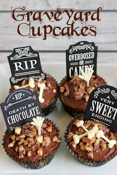 Halloween party treats: Spooky Graveyard and Bones Cupcakes