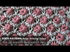 ▶ HD Knitting Video - Aster Flower Stitch Pattern - YouTube