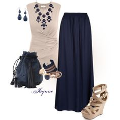 'Classic Navy and Taupe', created by ladyjaynne on Polyvore