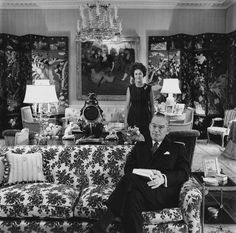 1965 - John Hay Whitney (Jock) and his wife Betsey (Babe Paley's sister) in their New York apt. Cecil Beaton