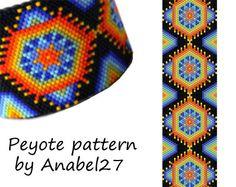 Huichol inspired peyote pattern  beadwork  peyote by Anabel27shop