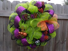 Spooky Halloween Mesh Wreath by 2TXChIX on Etsy, $40.00