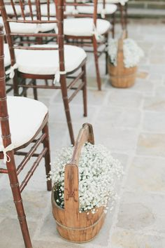Baby's breath babies breath, galleries, aisl flower, idea, buckets, ceremoni decor, aisle flowers, oat, aisledecor