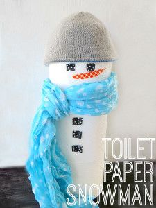 There is nothing better than sprucing up your bathroom with snowman crafts during the holidays! This Super Cute Toilet Paper Snowman is one of the neatest homemade Christmas decorations. | AllFreeKidsCrafts.com