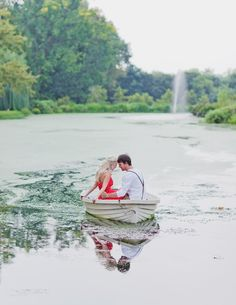 Engagement photo in boat