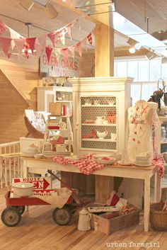 wonderful red and white shop display ~~ from urban farmgirl