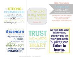 Scripture lunch printable