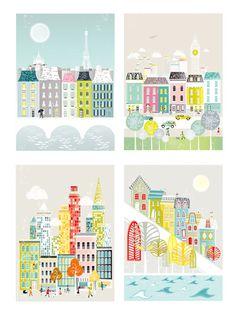 Paris, London, New York & San Francisco Cityscape Collection - €40