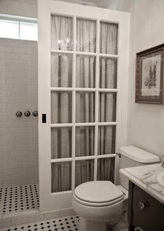 Door for shower curtain