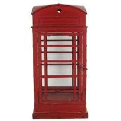 "A red phone booth lantern is perfect for when snow is falling and friends are calling ""Yoo hoo!"" this holiday season. 