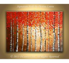 Contemporary ORIGINAL Abstract Modern Aspen Tree Landscape Fine Art Bright Oil Palette Knife Painting on 28x20 Canvas by Denisa Laura