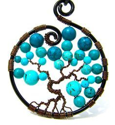 Tree of Life Pendant Turquoise and Teal Howlite Stone Beads and Brown wire on aâ?¦