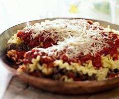 Talk about quick! Just cook the pasta, then prepare this family friendly lasagna in a skillet.