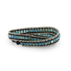 Montana Silversmiths Beaded Leather Wrap Bracelet