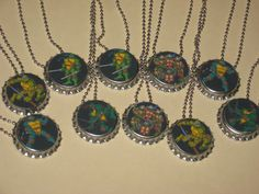 teenage mutant ninja turtles party favors lot of 10 ball chain bottle cap necklace