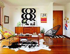 decor, living spaces, chairs, retro interior, acapulco chair, black white, mid centuri, marimekko, live room