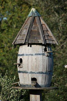 Wine Barrel Bird House
