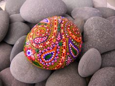 so pretty to leave for someone to find paisley, pattern, color, painted stones, boho, painted rocks, hippie art, paint rock, garden rocks