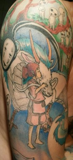 Princess Mononoke spirited away tattoos tattoo jiji totoro studio ghibli ghibli my neighbor totoro tattoo sleeve Howls Moving Castle kikis d...
